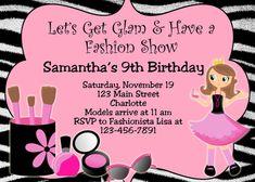 FASHION SHOW Custom Birthday Invitation Digital File You Print