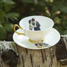 Kissing Couple Teacup and Saucer by Melody Rose