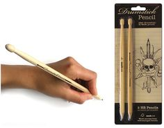 Teacher Appreciation Gift for Guy / Male Teachers:  Thank-you for Being an Awesome Teacher.  You Rock.  (Drumstick Pencil Set at Perpetual Kid)