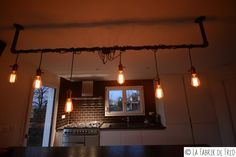 Industrial luminaire with son pendant and bulb Edison vintage and black steel pipe chandelier ceiling suspension EUR) by laFabrikdeFred Edison, Lamp, Ceiling Lights, Bulb, Industrial, Deco, Fixtures, Black Steel, Chandelier