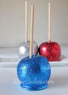 Blue Glittery Candy Apple