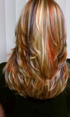 Beautiful orange and purple highlights!