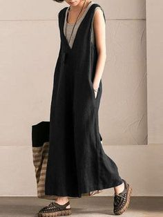 Casual Pure Color Sleeveless Jumpsuits For Women