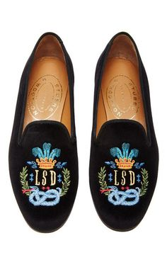 M'O Exclusive: Happy Menocal Bespoke Crown Crest Slipper by Stubbs & Wootton for Preorder on Moda Operandi