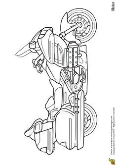 Coloriage d'une moto routière avec sacoches