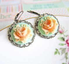 Mint Green Peach Earrings Orange Dangling Earrings Wedding Bridemaids Gift Mint Rose Flower Floral Earrings Shabby Chic Autumn  - Alyssa
