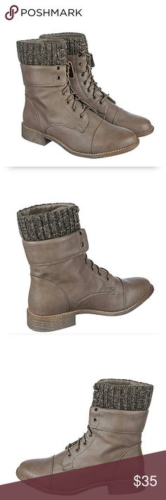 LAST PAIR, Size 8.5/9 Combat Ankle Boots PRICES REDUCED,CLOSET CLEAROUT SALE...  Taupe Combat Ankle Boots Size 9!!! One pair available, true to size but fits snug. Bundle up this winter with these adorable boots, Pair with black leggings and sweater for comfortable warm look! Shoes Combat & Moto Boots