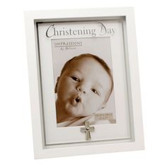 Juliana MDF Frame Mirror Print And Cross Icon Christening - WFW919CH