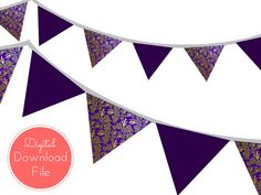 Purple Damask Banner Bunting Pennant Garland by MagicalPrintable