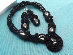 Black LOVE- wyjątkowy naszyjnik + kolczyki w rhodiana na DaWanda.com