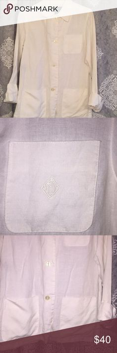 Linen blazer White Ralph Lauren button down blazer. 100% linen. Has pockets and cuffed sleeves! Like new! Lauren Ralph Lauren Jackets & Coats Blazers