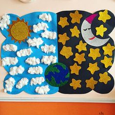 Day and night bulletin board idea for kids – Crafts and Worksheets for Preschool,Toddler and Kindergarten Crafts For Kids To Make, Art For Kids, Kids Crafts, Creation Crafts, Sistema Solar, Day For Night, Preschool Activities, Free Preschool, School Fun