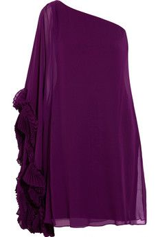 Notte by Marchesa  one-shoulder silk-chiffon dress  $795