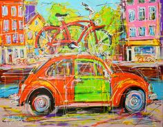 Nu in de #Catawiki veilingen: Mathias - Canal of Amsterdam, beetle and bike