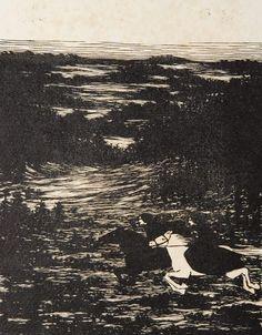 KOBLIHA František | Z cyklu Tristan | 1917, dřevoryt, papír, 289 × 228 mm