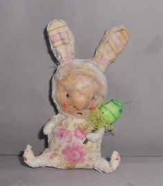 sitting bunny   Ooak spun cotton doll by papermoongallery on Etsy, $39.00