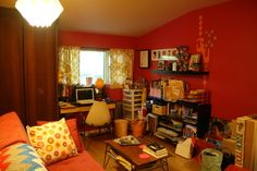 Paint colors that match this Apartment Therapy photo: SW 2801 Rookwood Dark Red, SW 6884 Obstinate Orange, SW 6670 Gold Crest, SW 2912 Chanticleer, SW 6342 Spicy Hue