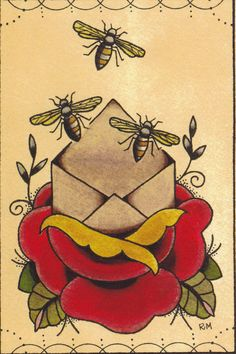 Bee Envelope Tattoo Flash- incoporate a fleur de lis and lime with bee and rose