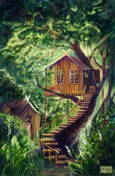 Treehouse by Lo-Lo-Liya on DeviantArt Fantasy Art Landscapes, Fantasy Landscape, Landscape Art, Anime Scenery Wallpaper, Cottage Art, House Drawing, Cool Art Drawings, Tumblr Wallpaper, Aesthetic Art