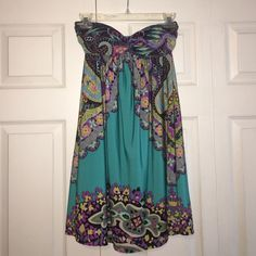 Super cute boho style dress  Love love this one! Beautiful teal color and strapless with lined top. Marked size large would best fit a medium to petite large. Boutique Dresses Strapless