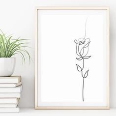 Minimalistic Rose Line Drawing | Quality A4 Art Print Embroidery Flowers Pattern, Simple Embroidery, Embroidery Art, Outline Art, Outline Drawings, Rose Outline Tattoo, Rose Drawings, Simple Art Drawings, Winter Drawings