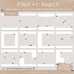 P365 +1 : March, templates by Maya de Groot