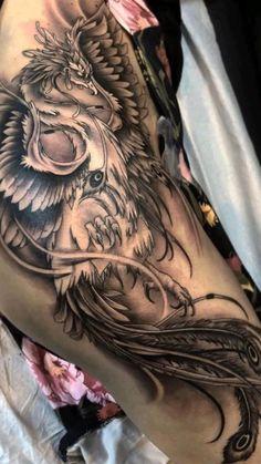 Blue Rose Tattoos, Girly Tattoos, Badass Tattoos, Body Art Tattoos, Sleeve Tattoos, Tribal Hip Tattoos, Side Body Tattoos, Phoenix Tattoo Feminine, Phoenix Tattoo Design