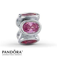 "Pandora Pink CZ Oval ""Lights"" Charm"