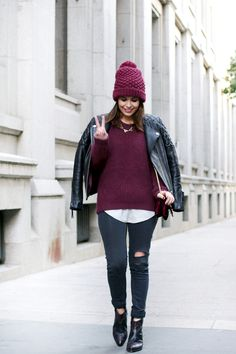 CUBAN_BOOTS_ASOS-OUTFIT-BURGUNDY-LEATHER_JACKET-BEANIE-STREET_STYLE-.jpg (790×1185)