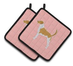 American Foxhound Checkerboard Pink Pair of Pot Holders BB3598PTHD