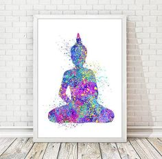 Buddha Print Watercolor Yoga Poster Abstract Buddha Painting Nursery Art Illustration Wall Decor Meditation Wedding Gift Wall Hanging A52: