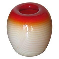 Vintage Nourout Studios Scarlet & Cream Ombre Art Glass Vase Signed Mid-Century
