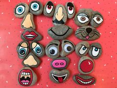 New set of funny face story stones by TellMeAStoryCrafts on Etsy