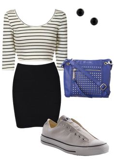 My Wardrobe: Hip Hop Concert Comfortable Outfit -- black bodycon skirt, b&w striped crop tee, converse, bold bag, black studs #style