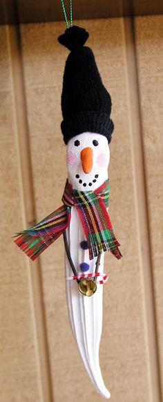 Okra Pod People Christmas OrnamentSnowman by JollyCollieWorkshop, $6.50