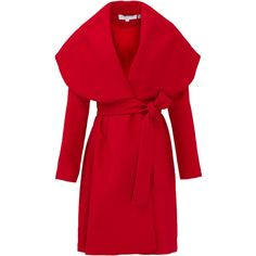 Rental Keepsake Wide Awake Coat ($50) ❤ liked on Polyvore featuring outerwear, coats, jackets, coats & jackets, red, dresses, oversized collar coat, long sleeve coat, red coat and wrap coat