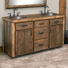 Olde Towne Rustic Vanity 48 - 72 Olde Towne Rustic Vanity 72 Double Sink in barnwood lager Rustic Bathroom Designs, Rustic Bathroom Vanities, Rustic Bathroom Decor, Rustic Bathrooms, Wood Bathroom, Rustic Kitchen, Bathroom Furniture, Small Bathroom, Bathroom Ideas