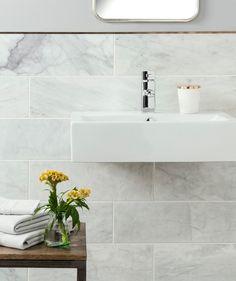 Natural Stone Bathroom Wall Tiles Uk - Image of Bathroom and Closet Marble Tile Bathroom, Marble Tiles, Bathroom Flooring, Marble Wall, Kitchen Tile, Tiling, Stone Tiles, Honed Marble, White Marble