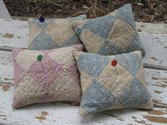 Vintage pincushions  what a neat way to upcycle an old quilt!
