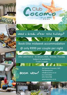 Need a break after the holidays? Book Elite weeknight accommodation for only R999 per couple per night! Valid from 6 - 31 January 2020 from Monday to Thursday. BOOK NOW! 012 259 0303 info@cocomo.co.za www.cocomo.co.za Subject to availability. T's & Cs apply. Monday Thursday, 31st January, Need A Break, How To Apply, Couple, Holidays, Night, Book, Holidays Events