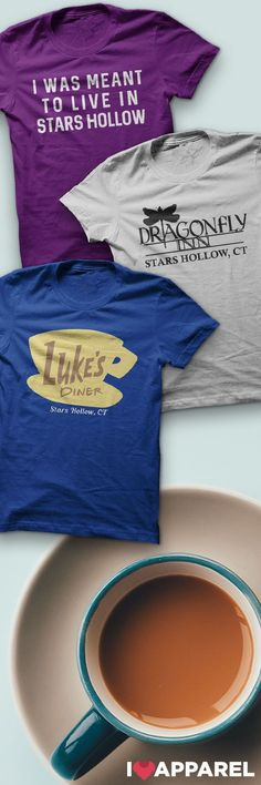 Buy Any 2 Items And Get FREE US Shipping. Check out our Luke's Diner, Dragonfly Inn and other Stars Hollow shirts. and like OMG! get some yourself some pawtastic adorable cat shirts, cat socks, and other cat apparel by tapping the pin!