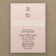 Captivating Ecru Crochet - Invitation - Pastel Coral Shimmer. Available at Persnickety Invitation Studio.