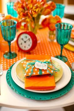 turquoise & orange table setting