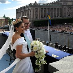 Crown Princess Victoria of Sweden - the nation's future queen - married her longtime love, Daniel Westling, in a beautiful ceremony held at Stockholm's Cathedral on June 19, 2010. The bride was picture-perfect in a cream-coloured satin gown designed for her by Par Engsheden, which featured a V-shaped back and a rounded neckline. Her five-metre train, attached at the waist of her dress, trailed out from behind and perfectly matched the shape of the princess' veil, which was held in place by…