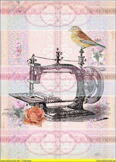 Bügelbilder - Vintage Nähmaschine Vogel Bügelbild Shabby - 639 - ein Designerstück von Doreens-Bastelstube bei DaWanda