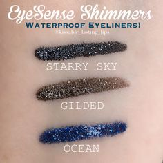 SeneGence EyeSense Shimmers Starry Sky, Gilded, and Ocean EyeSense! Limited Edition!   Instagram @kissable_lasting_lips My Facebook Business Page: https://m.facebook.com/kissablelastinglips/ Facebook Group: https://www.facebook.com/groups/kissablelastinglips/