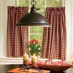 Ideas Kitchen Window Over Sink Ideas Cafe Curtains For 2019 Check Curtains, Cafe Curtains, Kitchen Curtains, Cottage Curtains, Barn Kitchen, Country Kitchen, Kitchen Decor, Kitchen Ideas, Red Kitchen