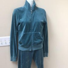 41b366c06 Juicy Couture Blue Green J Zip Jacket and Pants Sweats Sweatshirt Hoodie  Size 10 (. Tradesy