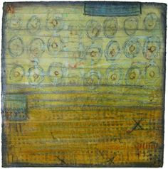 Following the Sun  Mixed media collage (textiles, encaustic wax, pigments): 12in. x 12in., 2012. Jennifer Solon.