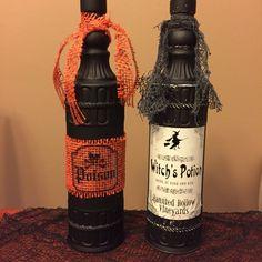 Hand made Halloween bottles